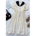 Trendy Summer Button Pleated Bow Back Patchwork Peter Pan Collar Short Puff Sleeve Midi A Line Dress for Girls