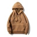 Cool Mens Hooded Sweatshirt Solid Color Pocket Drawstring Zipper Long Sleeve Regular Fitted Sherpa Hooded Sweatshirt