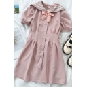 Fashion Girls Bow Button Down Pleated Contrast Striped Sailor Collar Short Puff Sleeve Midi A Line Dress in Pink