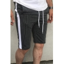 Chic Shorts Striped Printed Tape Pocket Drawstring Mid Rise Slim Fitted Shorts for Men