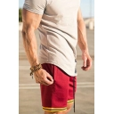 Athletic Mens Shorts Contrast Trim Pocket Drawstring Mid Rise Fitted Shorts