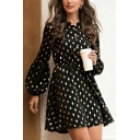 Amazing Ladies Polka Dot Print Blouson Sleeve Crew-neck Button down Short Pleated A-line Dress in Black