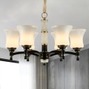 Bell Shade Opal Glass Pendant Chandelier Country 6/8-Light Living Room Suspension Lamp in Black
