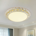 Frosted Glass Dome Flush Lamp Traditional LED Bedroom Flush Mount Fixture in White and Gold