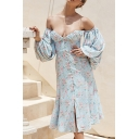 Popular All-over Floral Printed Blouson Sleeve Off the Shoulder Button down Slit Front Mid A-line Dress in Blue