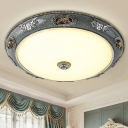 Domed Frosted Glass Ceiling Mounted Lamp Countryside 13