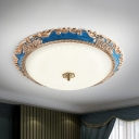 Traditional Bowl Shade Flush Mount Cream Glass LED Flush Ceiling Lamp in Red/Blue, 14