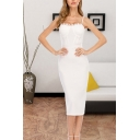 Chic Womens Lace-trim Spaghetti Straps Mid Sheath Slip Dress in White