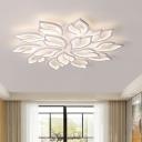 White Leaf Shape Semi-Flush Ceiling Light Contemporary LED Acrylic Flush Mounted Lamp in White/Warm Light