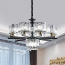 Prismatic Crystal Black Chandelier Round 13 Heads Contemporary Ceiling Pendant Light