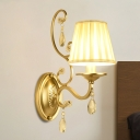 Cone Gathered Fabric Wall Sconce Contemporary Single-Bulb Bedroom Wall Lamp with Crystal Accent