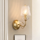 Clear Twisted Glass Cone Wall Light Modern 1-Light Living Room Sconce Lighting Fixture in Gold