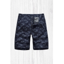 Holiday Men's Shorts Leaf All over Print Zipper Button Detail Straight Fit Chino Shorts with Pockets