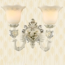 1/2-Head Milk Glass Wall Light Traditional White Finish Flower Shade Living Room Wall Sconce