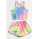 Chic Tie Dye Printed Spaghetti Straps Fitted Crop Cami Top & Elastic Waist Relaxed Shorts Set for Women