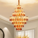 Amber Crystal Tiered Ceiling Chandelier with Rhombus Design Traditional 8 Heads Dining Room Pendant in Gold