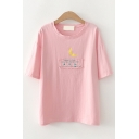 Preppy Girls Letter Moon Graphic Patched Short Sleeve Round Neck Relaxed Tee Top