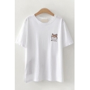 Popular Womens Japanese Letter Dog Embroidered Short Sleeve Round Neck Relaxed T Shirt