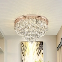 LED Conical Flushmount Lamp Modernist Clear Crystal Drip Ceiling Mounted Light for Hallway