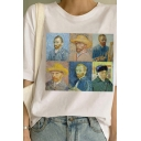 Art Is Dead Letter Van Gogh Painting Graphic Short Sleeve Crew Neck Relaxed Fit T Shirt in White