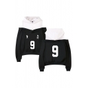 Sportswear Girls Number 9 Footprint Graphic Colorblock Patchwork Long Sleeve Cold Shoulder Loose-fit Hoodie