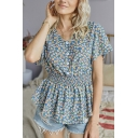 Pretty Girls Ditsy Floral Pattern Short Sleeve V-neck Button up Ruffled Gathered Waist Pleated Relaxed T Shirt