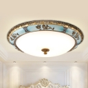 LED Flush Mount Fixture Warehouse Round White Frosted Glass Flush Ceiling Lighting in Blue