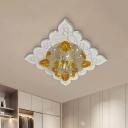 Amber Crystal Flower Flushmount Lamp Contemporary LED Flush Mounted Light Fixture for Hallway