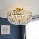 Gold Basket Frame Semi Mount Lighting Post Modern 4 Lights Crystal Strand Close to Ceiling Lamp
