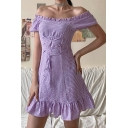 Pretty Girls Plaid Printed Off the Shoulder Stringy Selvedge Lace up Ruffled Trim Short A-line Dress in Purple