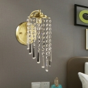 Crystal Beaded Strands Wall Lamp Countryside Single Bedroom Sconce Lighting in Brass