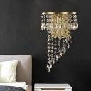 1 Bulb Crystal Strand Wall Light Post-Modern Brass Spiral Lobby Flush Mount Wall Sconce