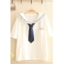 Preppy Girls Pocket Bear Print Short Sleeve Striped Sailor Collar Tie Loose Shirt Top