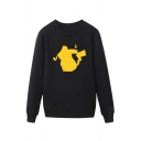 Simple Cartoon Pikachu Pattern Pullover Long Sleeve Round Neck Regular Fit Sweatshirt for Men