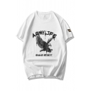 Cool Mens Eagle Letter Army Life Eagle Spirit Printed Short Sleeve Round Neck Regular Fit Graphic Tee Top