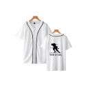 Stylish Mens Character Letter Veterans Day Printed Patchwork Button up Short Sleeve V-Neck Loose Fit Graphic T-Shirt