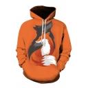 Cool Mens 3D Fox Printed Pocket Drawstring Long Sleeve Regular Fit Hooded Sweatshirt in Orange