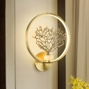 Tree Mural Wall Light Kit Asian Style Acrylic Gold LED Sconce Lighting Fixture for Bedroom