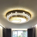 LED Flush Mount Ceiling Light Modern 3-Tier Oval Beveled Crystal Flushmount Lamp in Stainless Steel