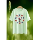 Casual Womens Heart Rat Printed Short Sleeve Crew Neck Relaxed Fit T Shirt