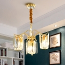 4-Bulb Pendant Lighting Traditional Cylinder Shade Crystal Block Chandelier Lamp Fixture in Brass