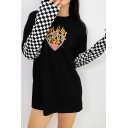 Fashion Womens Flame Heart Checkered Pattern Patched Long Sleeve Crew Neck Loose T-shirt in Black