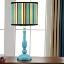 Striped Cylinder Table Stand Lamp Mediterranean Fabric 1-Light Blue Night Light for Bedroom