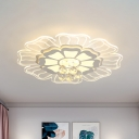 Sunflower LED Flush Mount Ceiling Light Contemporary White Acrylic Flushmount with Crystal Drop