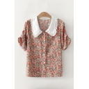 Vintage Womens Ditsy Floral Printed Ruched Detail Peter Pan Collar Short Sleeve Regular Fit Shirt