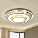 Beveled Crystal White Flush Mount Tiered Round LED Simple Ceiling Mount Light Fixture
