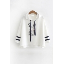 Cute Girls Rabbit Printed Pompom Detail Drawstring Striped Hooded 3/4 Sleeve Loose Fit Hoodie