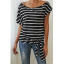 Trendy Womens Stripe Print Tied Hem Short Sleeve Round Neck Relaxed T-shirt