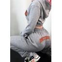 Streetwear Womens Letter Rock More Print Long Sleeve Elastic Hem Relaxed Hoodie in Gray