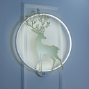 Nordic Sika Deer Silhouette Wall Lighting Iron Living Room LED Mural Lamp with White Halo Ring